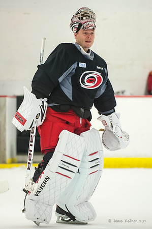 Anton Khudobin. September 13, 2013. Carolina Hurricanes training camp practice at Raleigh Center Ice, Raleigh, NC.  Copyright © 2013 Jamie Kellner. All rights reserved.