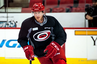 Jaccob Slavin. July 24, 2014. Carolina Hurricanes Prospect Development Camp, PNC Arena, Raleigh, NC. Coyright © 2014 Jamie Kellner. All Rights Reserved.