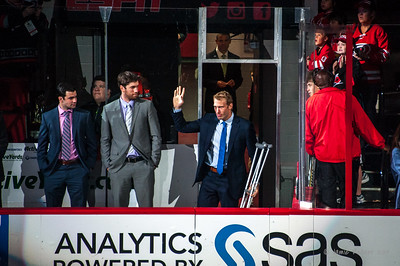 Jordan Staal appears on crutches during player introductions. October 10, 2014. Carolina Hurricanes vs. New York Islanders (Opening Night), PNC Arena, Raleigh, NC. Copyright © 2014 Jamie Kellner. All Rights Reserved.