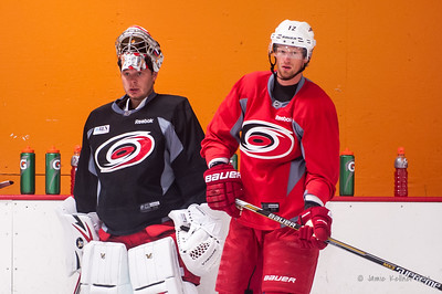 Anton Khudobin and Eric Staal