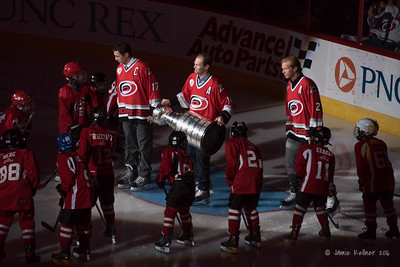 Rod Brind'Amour, Kevyn Adams, Glen Wesley arrive with the Stanley Cup