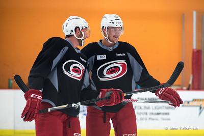 Jaccob Slavin and Josh Wesley
