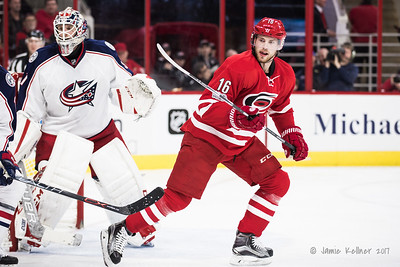 January 10, 2017. Carolina Hurricanes vs. Columbus Blue Jackets, PNC Arena, Raleigh, NC. Copyright © 2017 Jamie Kellner. All Rights Reserved.