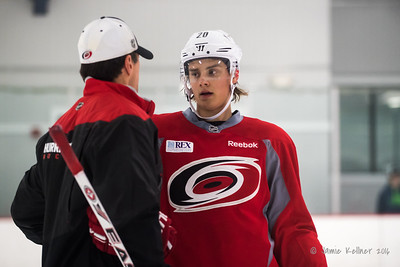 October 12, 2016. Carolina Hurricanes practice at Raleigh Center Ice, Raleigh, NC. Copyright © 2016 Jamie Kellner. All Rights Reserved.