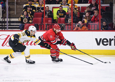 March 13, 2018. Carolina Hurricanes vs. Boston Bruins, PNC Arena, Raleigh, NC. Copyright © 2018 Jamie Kellner. All Rights Reserved.