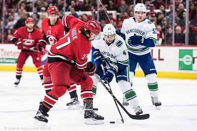 February 9, 2018. Carolina Hurricanes vs. Vancouver Canucks, PNC Arena, Raleigh, NC. Copyright © 2018 Jamie Kellner. All Rights Reserved.