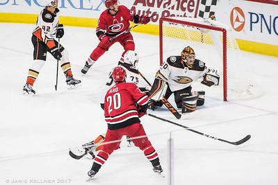 October 29, 2017. Carolina Hurricanes vs Anaheim Ducks, PNC Arena, Raleigh, NC. Copyright © 2017 Jamie Kellner. All Rights Reserved.