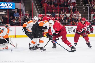 February 6, 2018. Carolina Hurricanes vs. Philadelphia Flyers, PNC Arena, Raleigh, NC. Copyright © 2018 Jamie Kellner. All Rights Reserved.