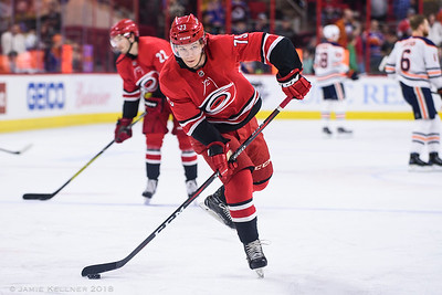 March 20, 2018. Carolina Hurricanes vs. Edmonton Oilers, PNC Arena, Raleigh, NC. Copyright © 2018 Jamie Kellner. All Rights Reserved.