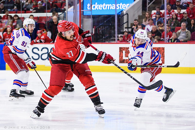 March 31, 2018. Carolina Hurricanes vs. New York Rangers, PNC Arena, Raleigh, NC. Copyright © 2018 Jamie Kellner. All Rights Reserved.