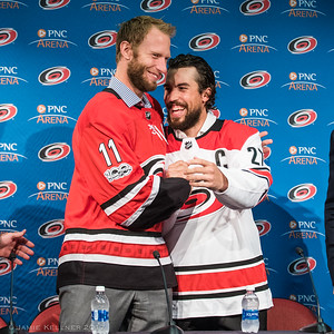 October 5, 2017. Carolina Hurricanes name Justin Faulk and Jordan Staal as Captains, PNC Arena, Raleigh, NC. Copyright © 2017 Jamie Kellner. All Rights Reserved.