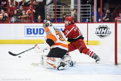 December 31, 2018. Carolina Hurricanes vs. Philadelphia Flyers, PNC Arena, Raleigh, NC. Copyright © 2018 Jamie Kellner. All Rights Reserved.