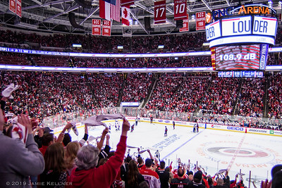 April 18, 2019. Carolina Hurricanes vs. Washington Capitals, Game 4 Stanley Cup Playoffs Round 1, PNC Arena, Raleigh, NC. Copyright © 2019 Jamie Kellner. All Rights Reserved.