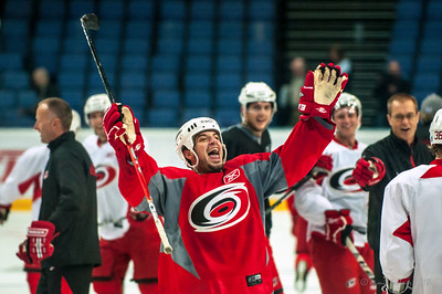 An extra large thank you to fans in attendance at today's practice, from Chad LaRose.  October 6, 2010.  Carolina Hurricanes practice at Hartwall Areena in Helsinki, FInland.  Copyright © 2010 Jamie Kellner.  All rights reserved.