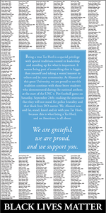 A coalition of Carolina alumni worked together to publish this historic ad in the Sept. 28, 2016 edition of The Daily Tar Heel, supporting student athletes in protest.