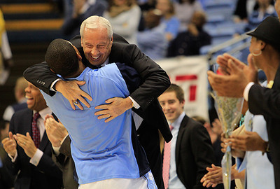 Senior Leslie McDonald hugs Coach Williams at the UNC vs. Notre Dame game on Monday. The Tar Heels won 63-61 on Senior Night.