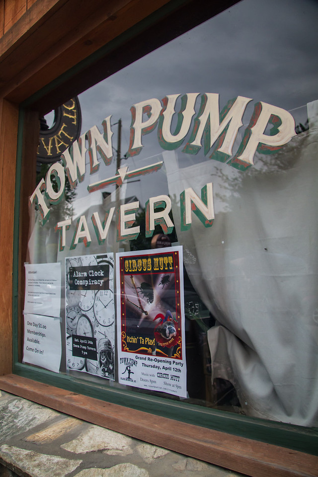 The Town Pump on Cherry St., Black Mtn. Posters for the Circus Mutt and the Alarm Clock Conspiracy.