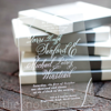 WHITE AND ACRYLIC INVITATION MAILED IN A BOX