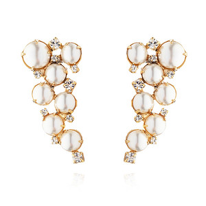 BRIDAL -  Little Miss Pearl Earring / Pearl + Crystal