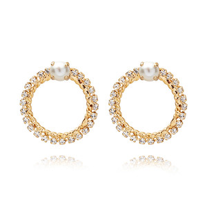 BRIDAL -  One Love Earring / Pearl + Crystal