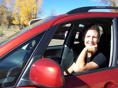 Caroline in her new car!