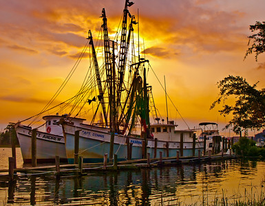 "' Shrimp Fleet at Sunset ' Georgetown, SC  12""x16"", Luster paper (12 mil) limited edition of 50"