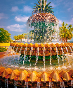 "' Pineapple Fountain ' Waterfront Park Charleston, SC  12""x16"", Luster paper (12 mil)"