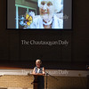 """Lori Stralow Harris of the International Butterfly Breeder's Association presents her lecture """"Guess Who's Coming to Dinner"""" at 12:15 PM on July 5, 2016, at Smith Wilkes Hall. In her lecture, Stralow Harris discussed various topics relating to monarch butterflies, including the monarch butterfly life cycle, the state of the monarch population today, and her experience with bringing monarch butterflies to residents in a memory care home. Photo by Carolyn Brown."""