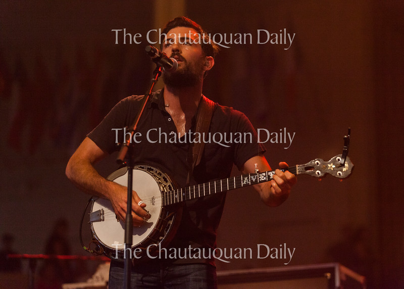 Scott Avett of The Avett Brothers plays the banjo at 8:15 PM on July 8, 2016, at the Amphitheater. The show drew a sold-out crowd.<br /> <br /> Photo by Carolyn Brown.