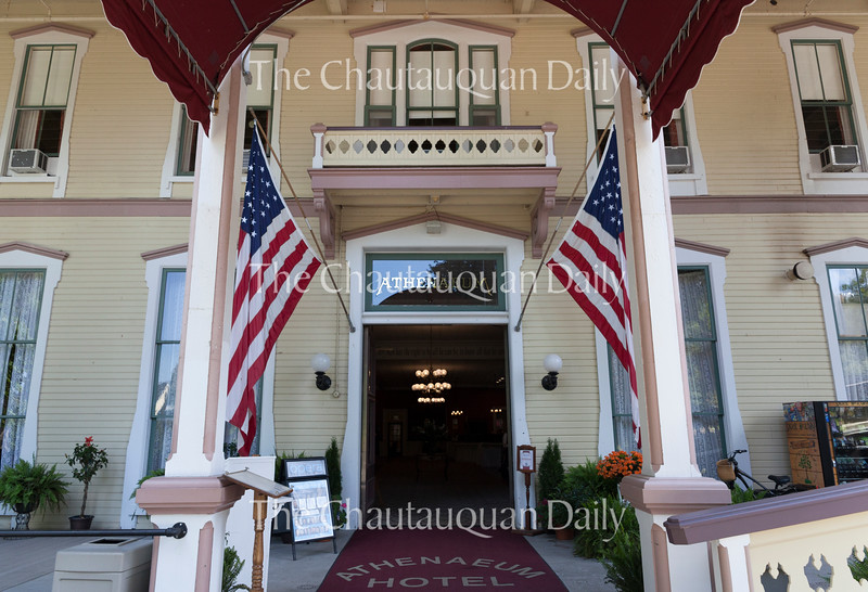The Athenaeum Hotel has undergone multiple renovations since the 2015 season, including the installation of a new sprinkler system. The pillars at the front of the hotel, pictured here, have also been completely reconstructed. Photo by Carolyn Brown.