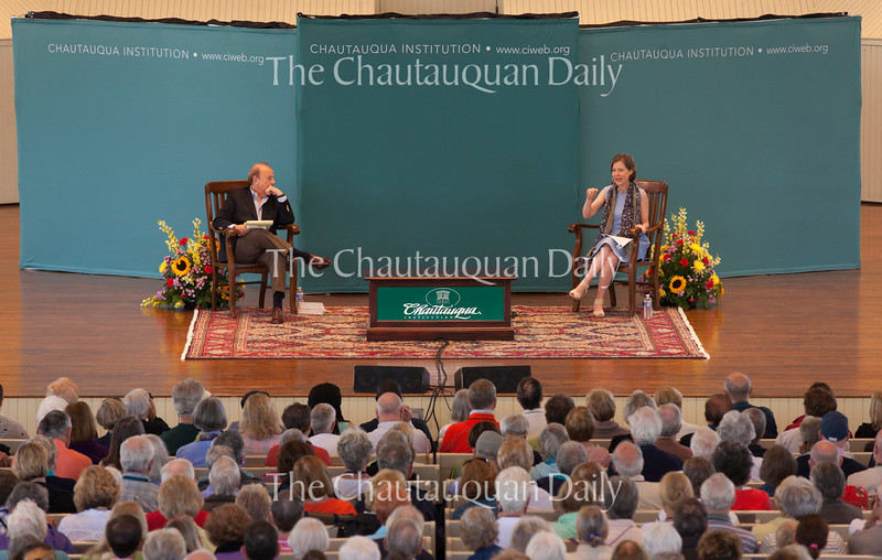"""Roger Rosenblatt, left, talks to Ann Patchett, right, in the Amphitheater on June 30, 2016, as part of the Week One morning lecture series """"Roger Rosenblatt & Friends: On Creative Expression."""" In their conversation, Patchett and Rosenblatt discussed varying topics, including caretaker for someone with a serious illness, why magic as a trade is often misogynistic,  Patchett's knack for financial management as a teenager, and the """"invisibilities"""" that go into a novel. Photo by Carolyn Brown."""