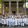New members of the Chautauqua Literary and Scientific Circle pose for their group photo at 8 A.M. on Thursday, August 4, 2016, in front of the Hall of Christ. The CLSC inducted 138 new members into the Class of 2016, the youngest of whom was 10-year-old Paul Ritacco III, center. Photo by Carolyn Brown.