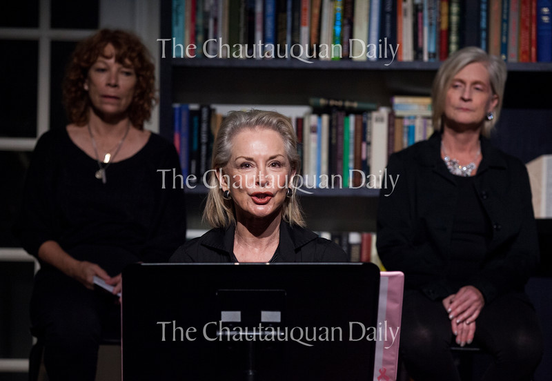 """From left: Lee Heinz, Ann Fletcher, and Lisa Wallace perform during a dress rehearsal of the Chautauqua Women's Club and Chautauqua Theater Company's joint production of Nora and Delia Ephron's """"Love, Loss, and What I Wore"""" at 1 PM Monday, July 25, at Bratton Theater. The one-day show played to a sold-out crowd. Photo by Carolyn Brown."""