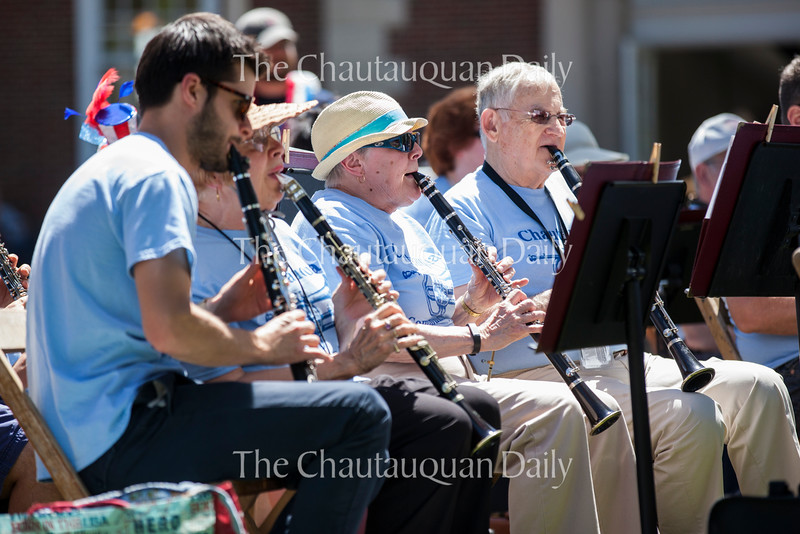 Clarinetists play patriotic tunes at the Chautauqua Community Band 25th Annual Independence Day Concert at 12:15 PM on July 4, 2016, on Bestor Plaza. The concert is a beloved Chautauqua tradition that attracts many families to Bestor to enjoy the music and sunshine. Photo by Carolyn Brown.