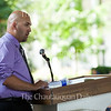 "Joshua Ambrosius, assistant professor of political science at the University of Dayton, presents his lecture entitled ""Separation of Church and Space? How Religion Shapes Our Views of Space – And May Shape Our Cosmic Future"" as part of the Week Four Interfaith Lecture Theme, ""Searching for an Interstellar Spirituality?"" at 2 PM on July 19, 2016, in the Hall of Philosophy. Ambrosius discussed the research and debates surrounding religious denominations' support and opposition to space research and space colonization. He said,  ""Evangelicals are more sure Jesus will return to the earth in the next four decades than the rest of the population is."" Photo by Carolyn Brown."