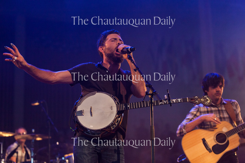 Scott Avett (left) and Seth Avett (right) of The Avett Brothers perform at 8:15 PM on July 8, 2016, at the Amphitheater. The show drew a sold-out crowd.<br /> <br /> Photo by Carolyn Brown.