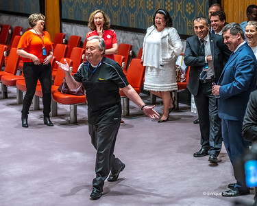 UN Secretary-General Guterres wears a referee jersey and blows a whistle to mark start of  the Soccer World Cup