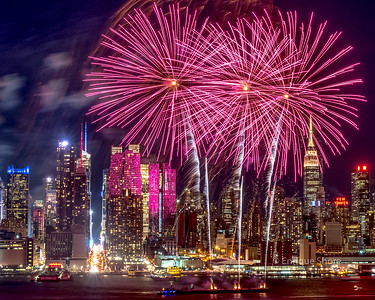 Fireworks over New York to celebrate the Chinese Lunar New Year
