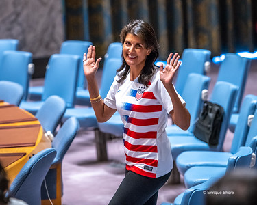 US Ambassador to the UN Nikki Haley wears a soccer jersey to mark start of  the Soccer World Cup