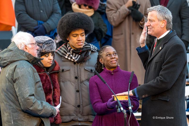New York city Mayor De Blasio second-term inauguration