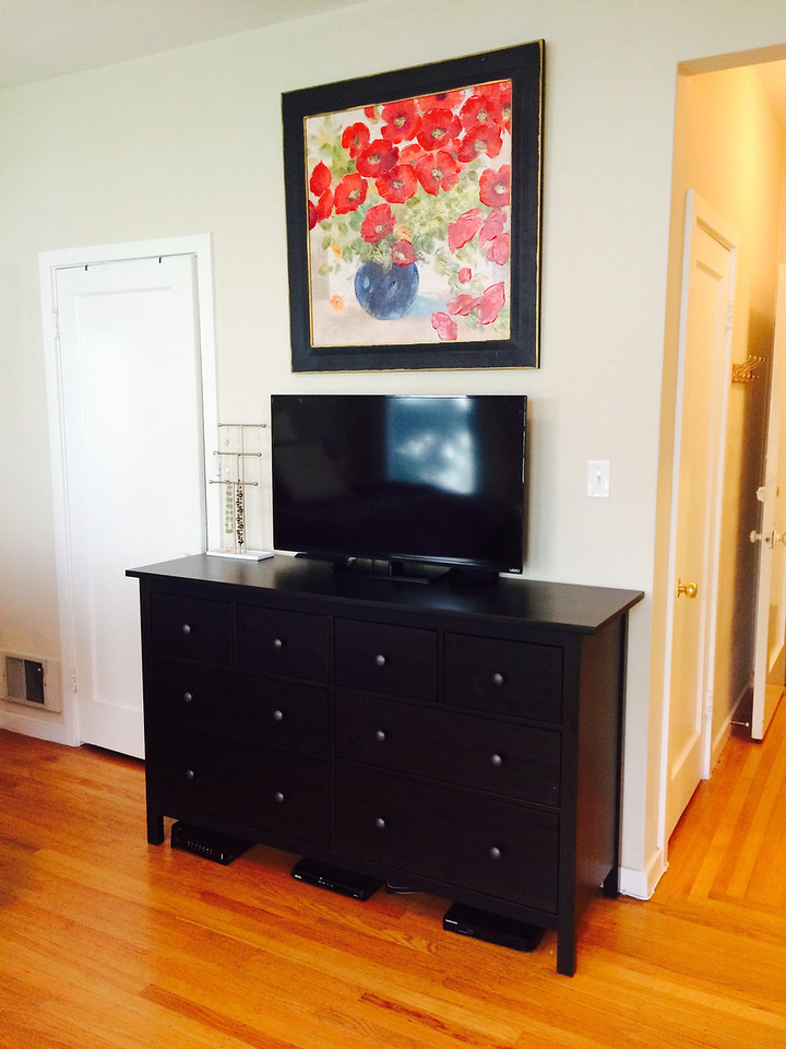 Assembled this IKEA dresser, Visio TV and hung the painting.