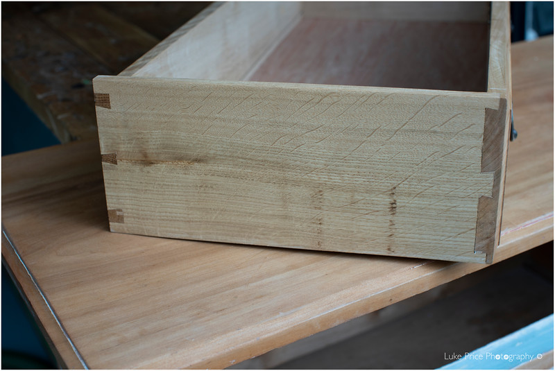 Handcut dovetail drawer joints