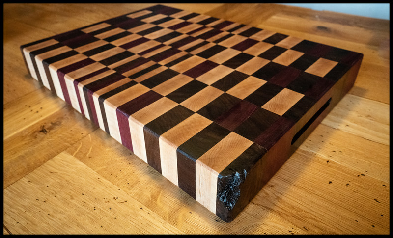 Maple, Black Walnut and Purpleheart end grain board.