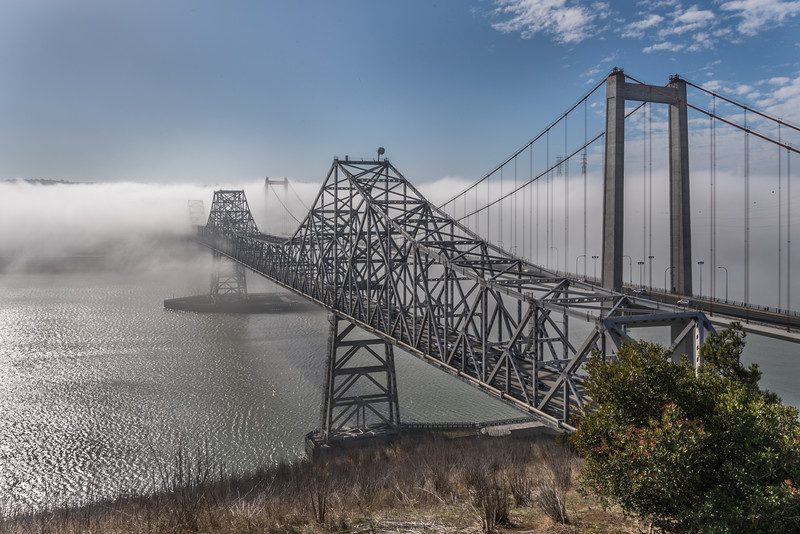 Morning fog burn off on the Carquinez Strait