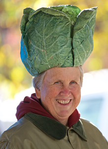 From a distance I thought it might be the Pope.  FYI--the hat is a real vegetable right out of her garden.