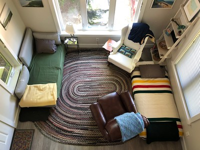 Living room with twin beds set up