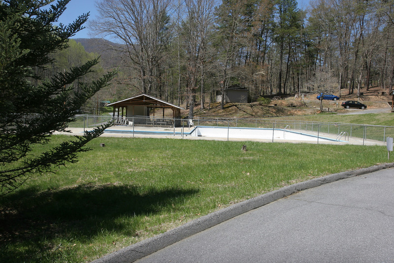 Looking left from front entrance, pool and pool pavilion.