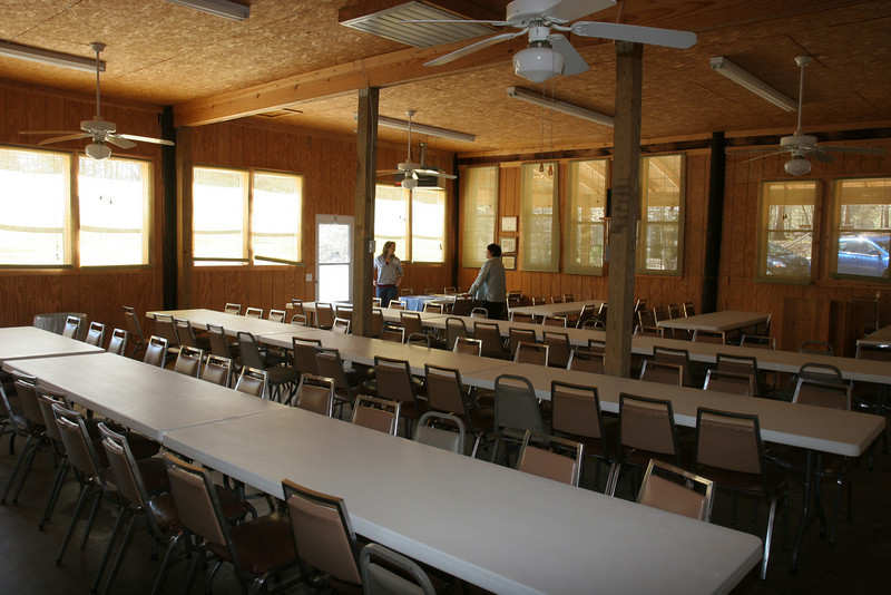 View of dining hall from the kitchen
