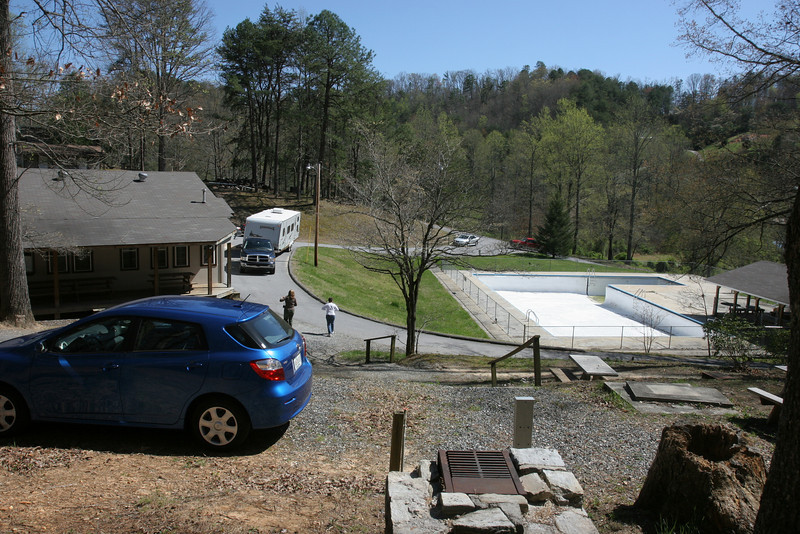 Dining hall on left, kitchen staff cabin on right