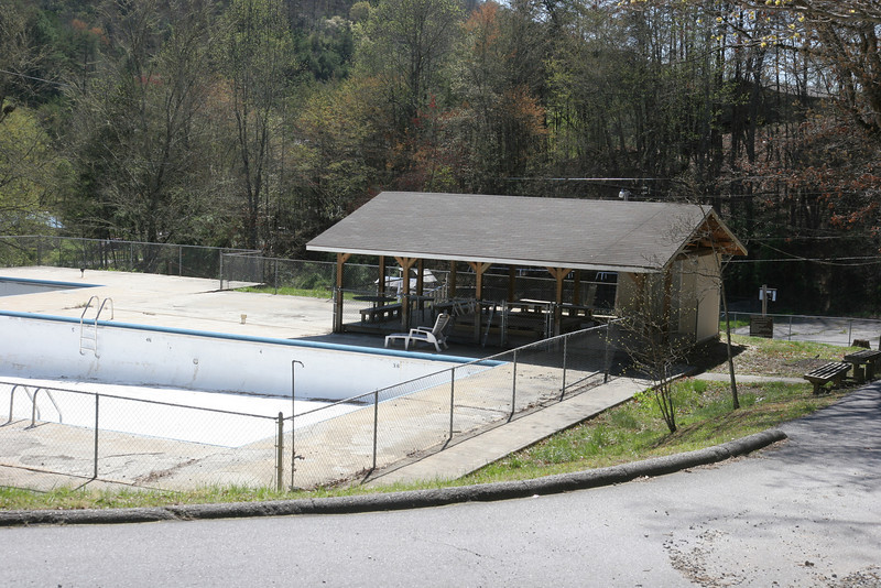 Pool pavilion from dining hall